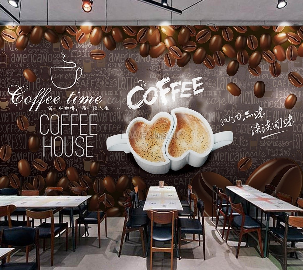 Coffee Beans with Mocha Wallpaper Mural