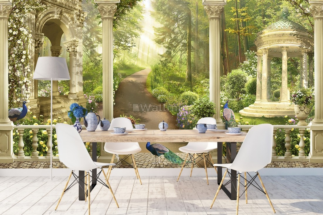 Forest Way with Byzantine Column Wallpaper Mural