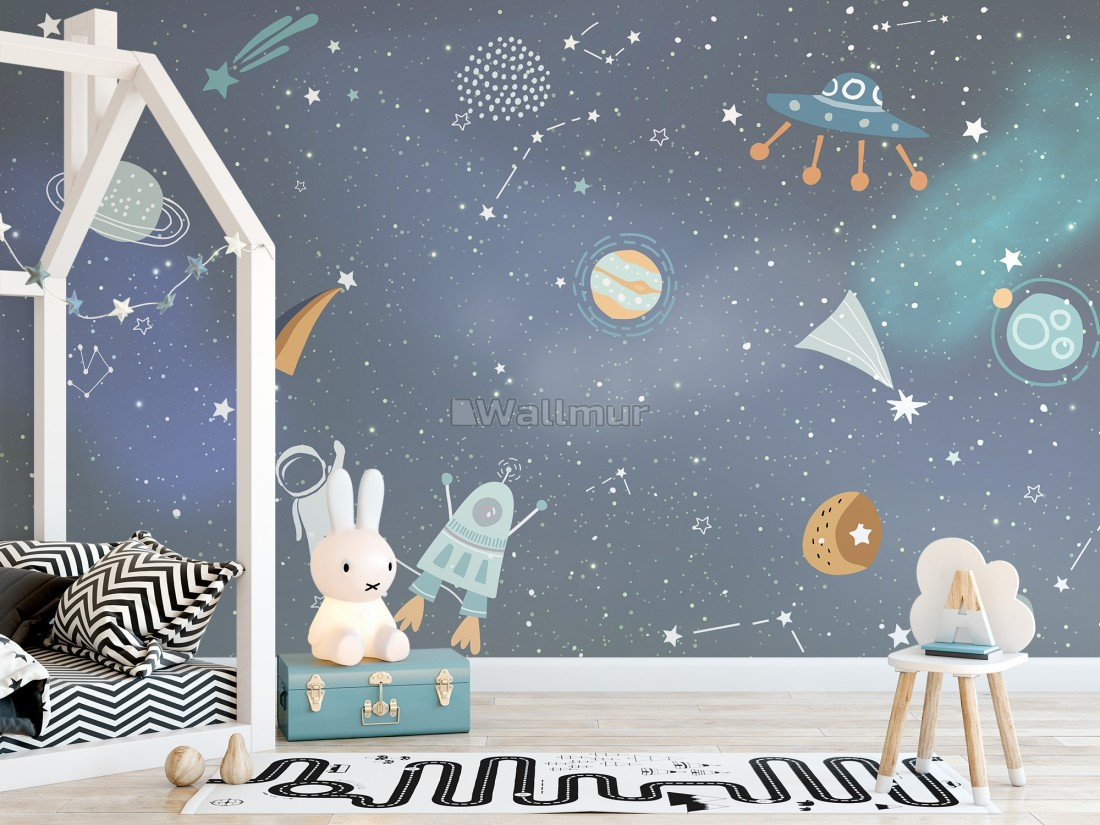 Cartoon Space With Colorful Planets And Little Stars Wallpaper