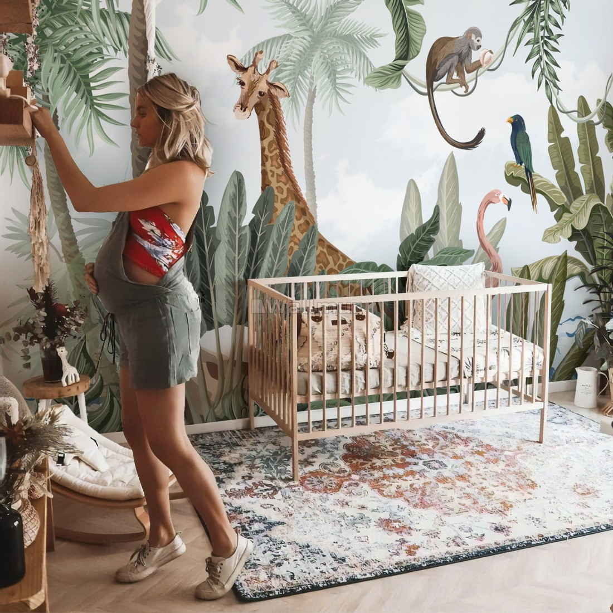 Kids Nursery Pink Flamingo And Cute Giraffe Safari Animals Wallpaper Mural Wallpaper Wallmur