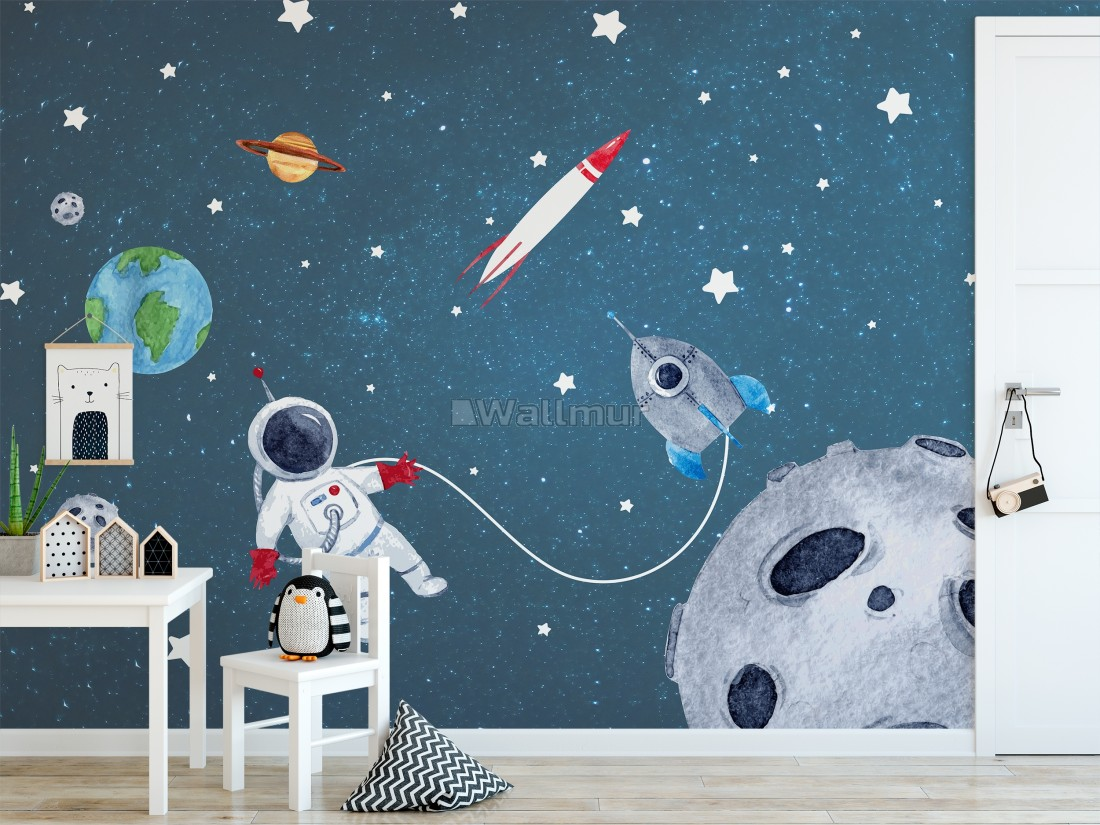 Watercolor Space With Astronaut And Meteor Wallpaper Mural Wallpaper Wallmur