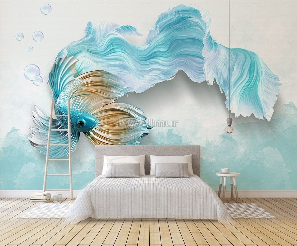 Abstract Guppy Fish Wallpaper Mural