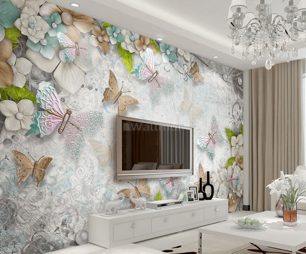 3d Look Pearl Floral And Colorful Butterfly Wallpaper Mural Wallmur