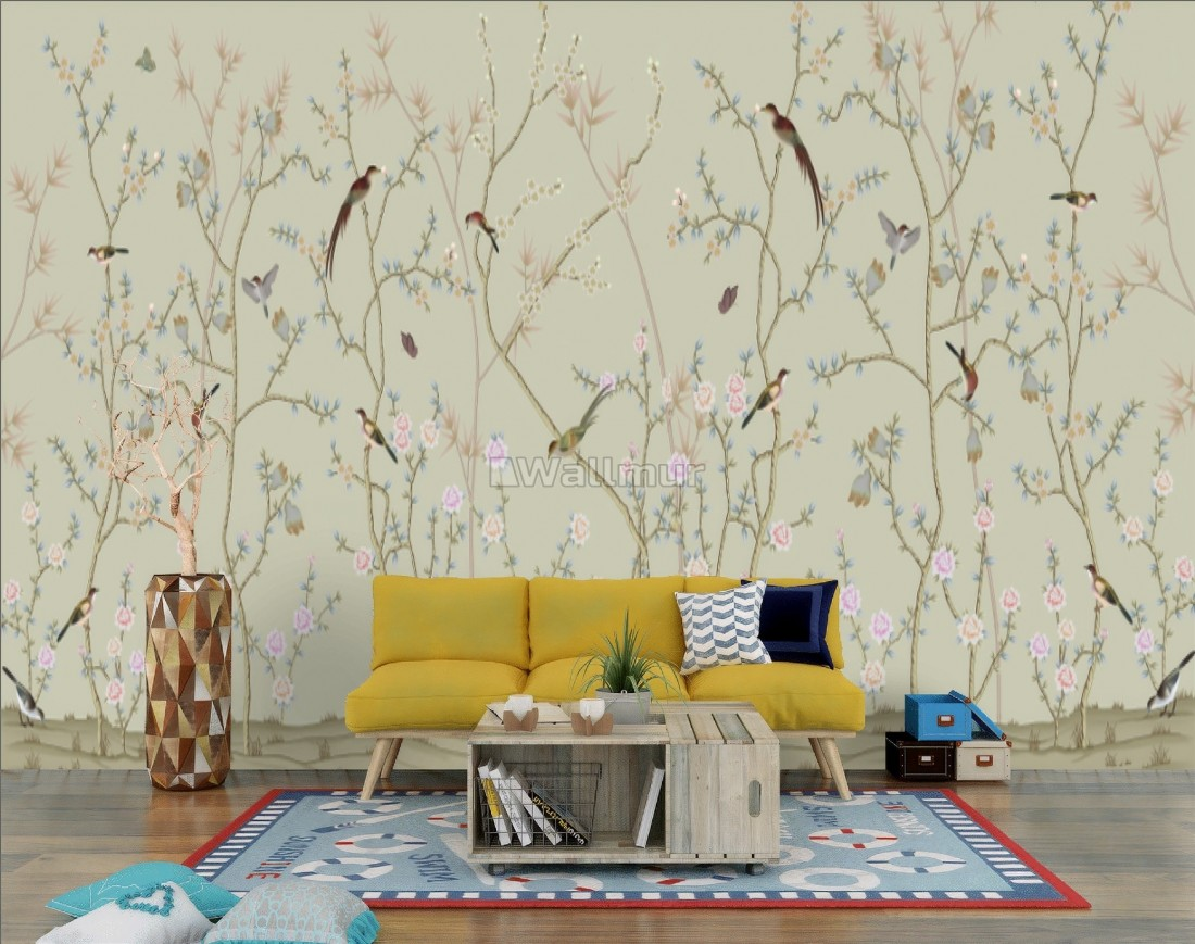 Chinese Floral Branches With Little Birds Wallpaper Mural Wallmur
