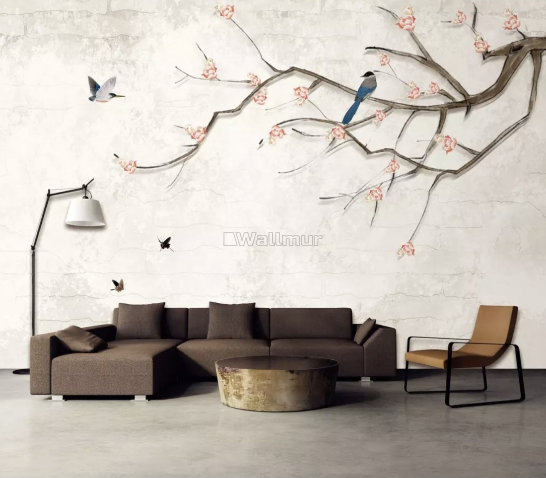 Colorful Birds And Cherry Blossom Tree Wallpaper Mural Wallmur