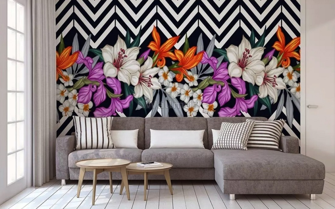Colorful Flowers with Black White Stripe Patterned Wallpaper Mural