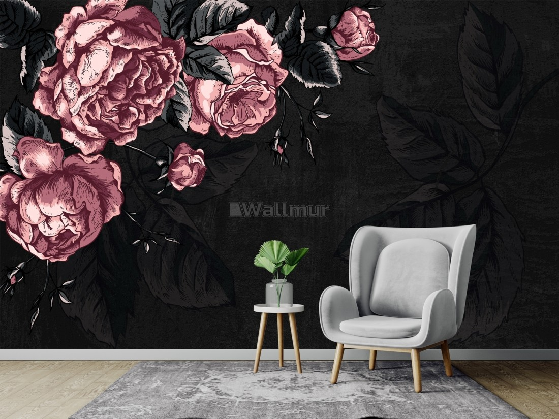 Dark Floral Peony Flower Drawing Wallpaper Mural Wallmur