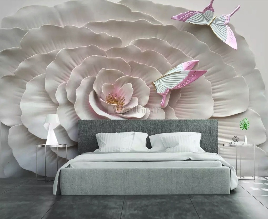 3D Embossed Flowers and Butterfly Wallpaper Mural
