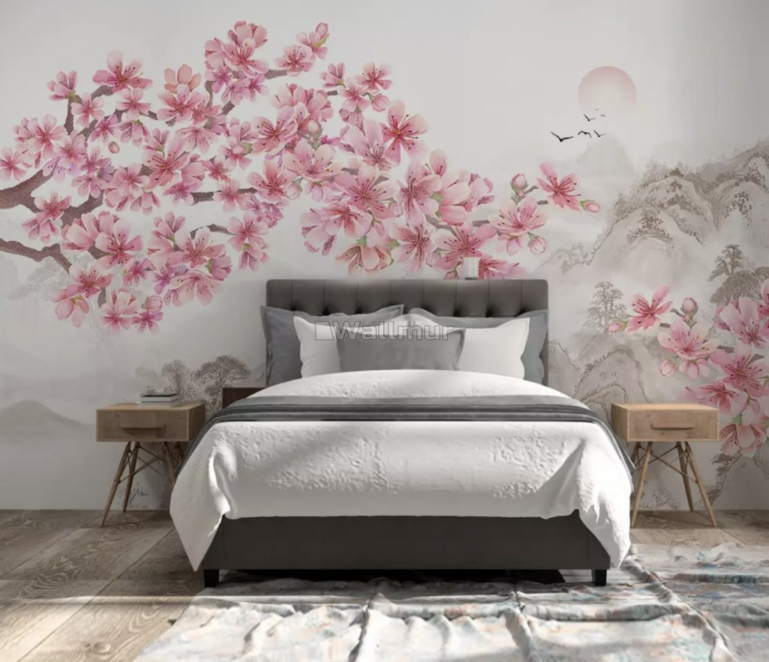 Pink Floral Cherry Blossom And Mountainscape Wallpaper Mural