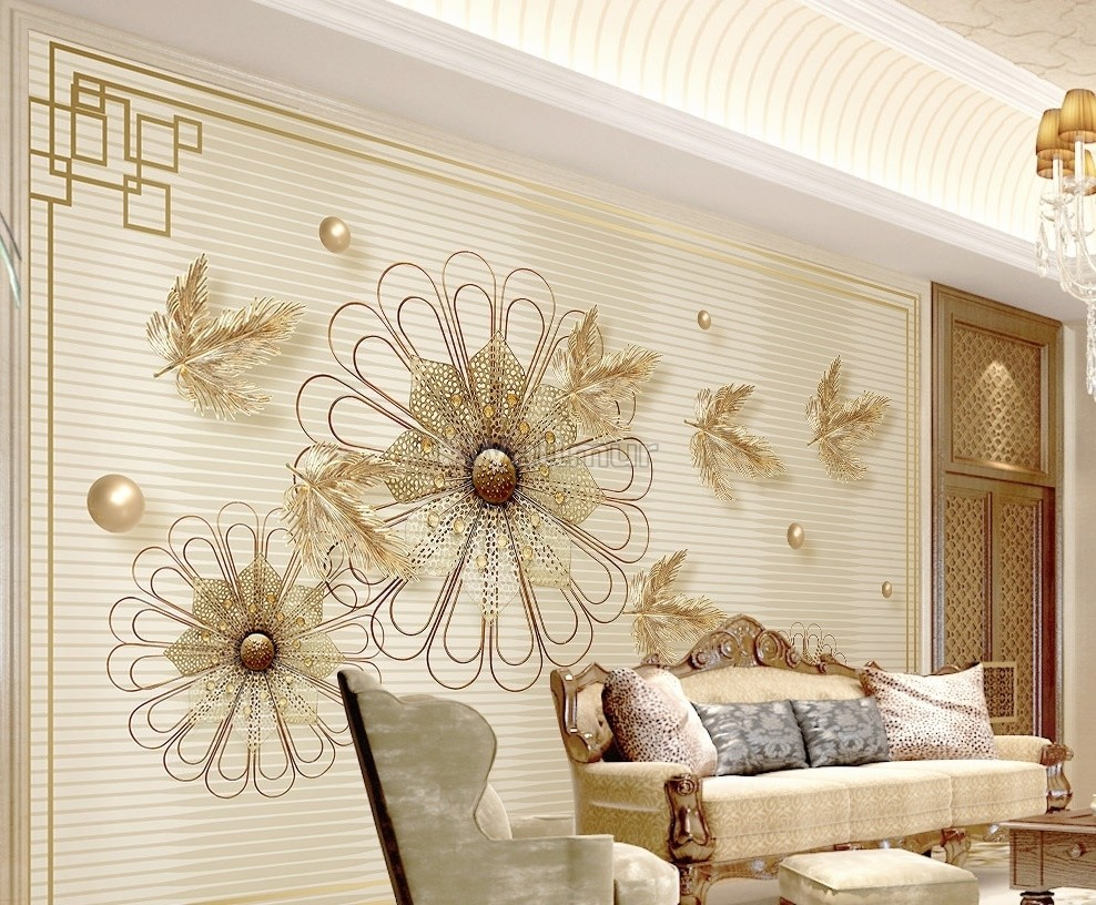 Gold Daisy Floral And Leaf Wallpaper Mural Wallmur