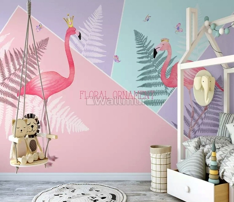 Pink Flamingo with Geometric Shapes Wallpaper Mural