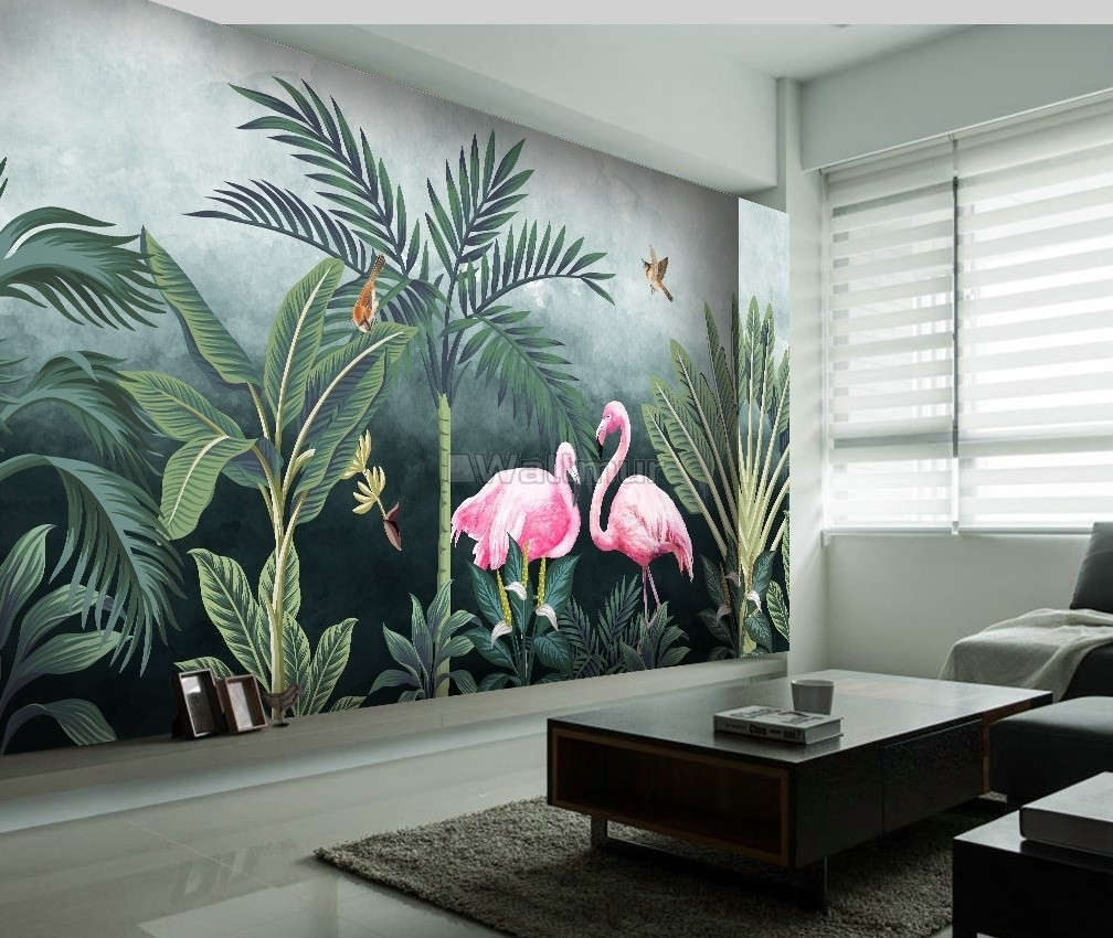 Pink Flamingo with Vintage Forest Wallpaper Mural