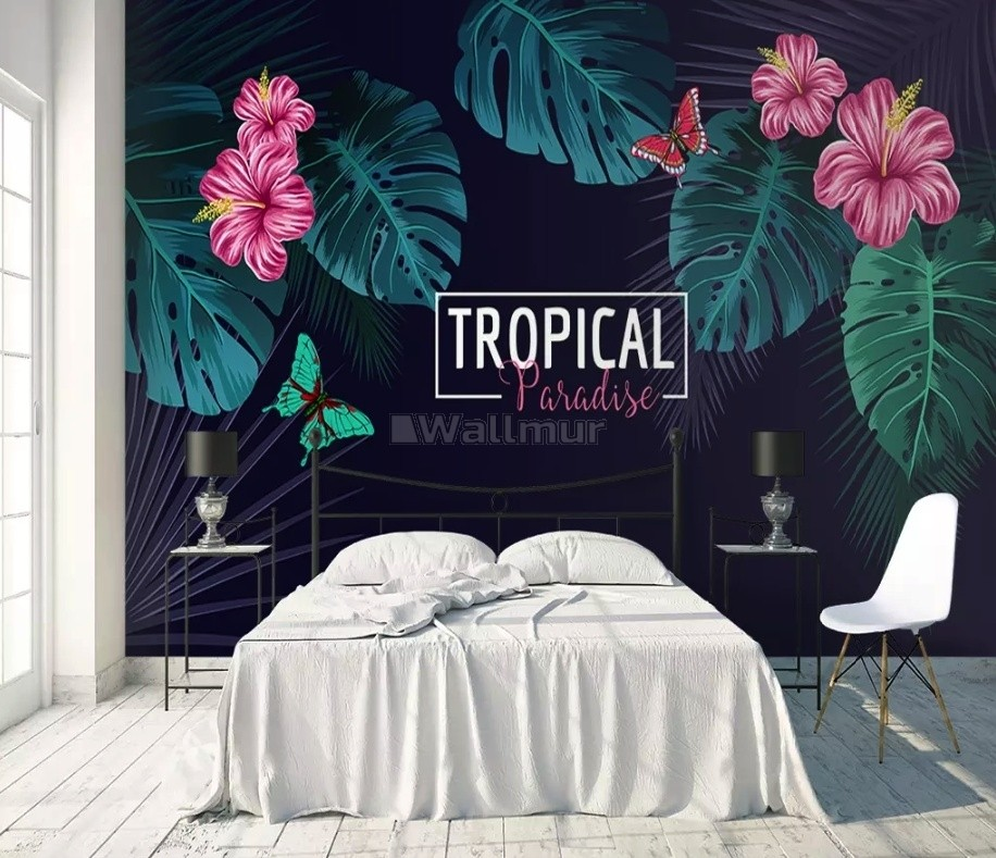 Pink Mirabilis Flowers with Tropical Leaves Wallpaper Mural
