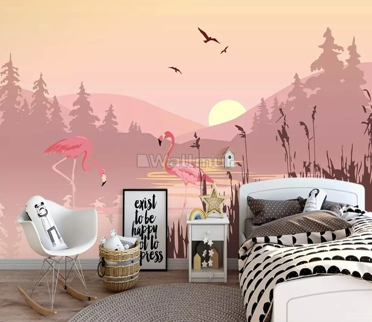 Pink Sunrise Landscape with Flamingos Wallpaper Mural
