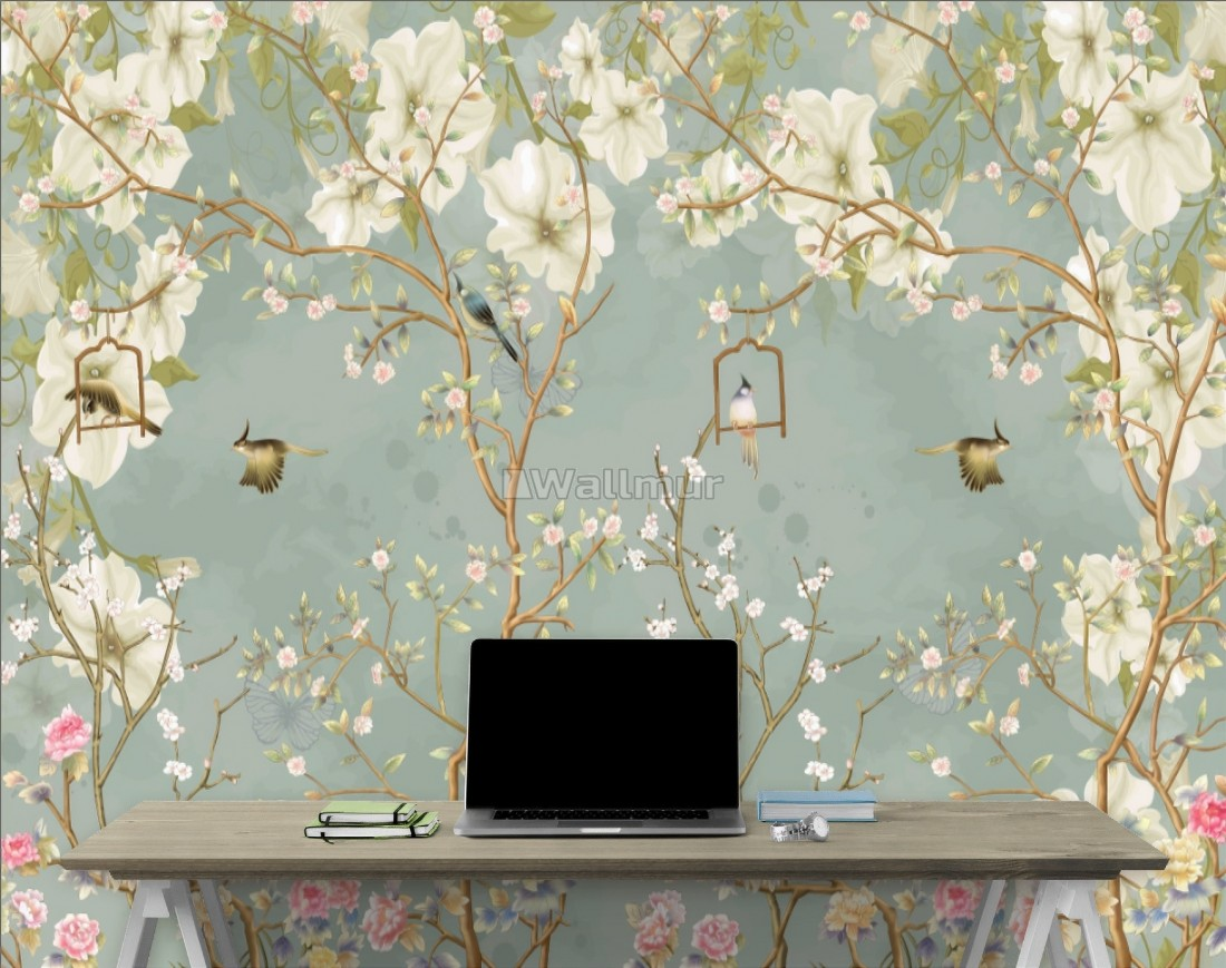 Soft Chinese White Florals With Birds Wallpaper Mural Wallmur