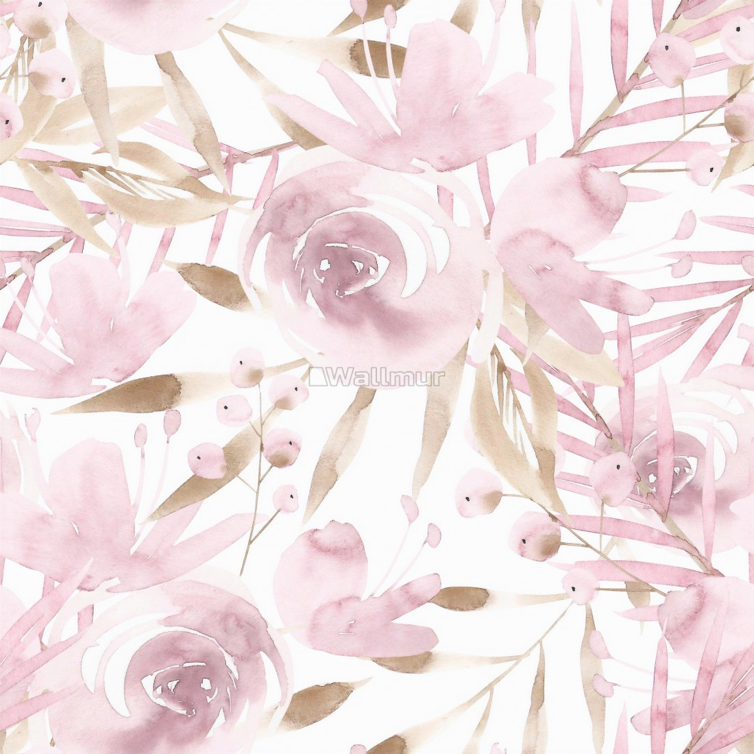 Soft Pink Peony Floral With Brown Leaves Pattern Wallpaper Wallmur