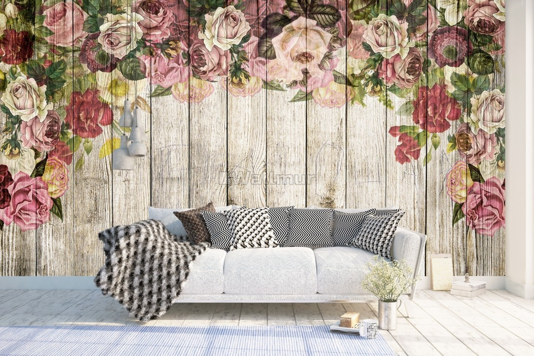 Vintage Floral With Wood Wall Wallpaper Mural Wallmur