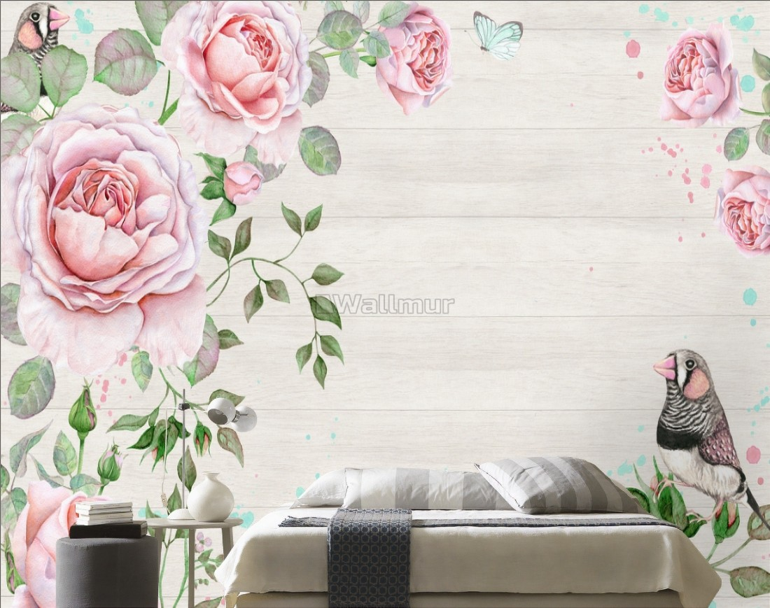 Watercolor Pink Rose Floral With Bird Wallpaper Mural Wallmur