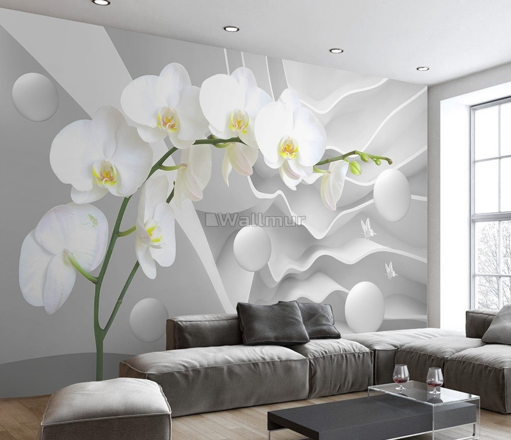 White Orchid Floral With Abstract Stripe Wallpaper Mural Wallmur
