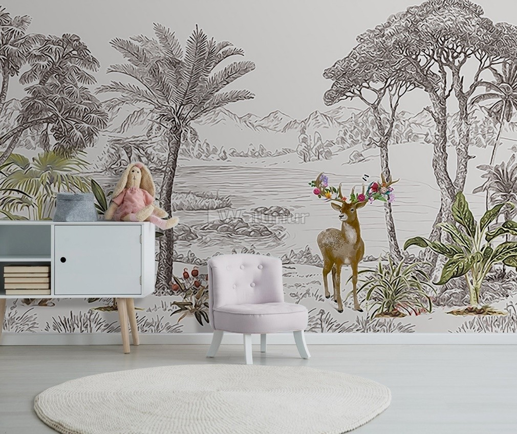 Charcoal Forest and Lake Landscape Wallpaper Mural