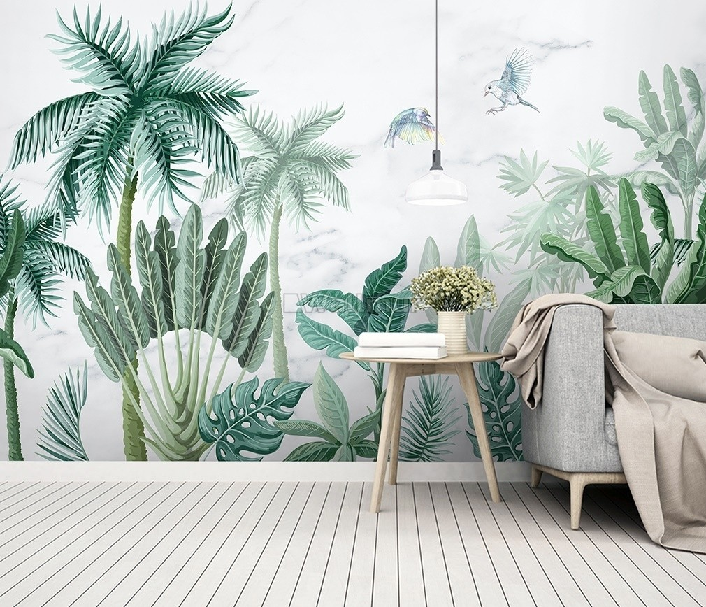 Monochrome Green Tropical Forest Wallpaper Mural