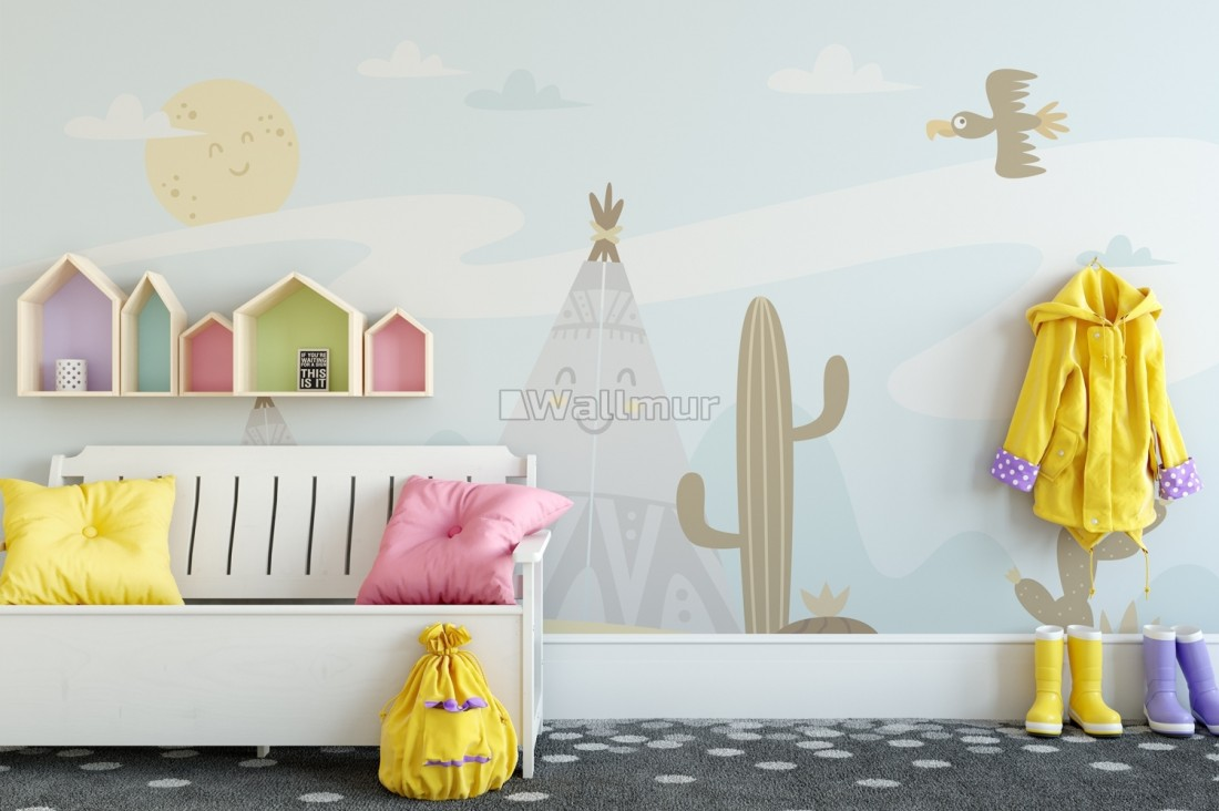Cartoon Landscape with Happy Sun Wallpaper Mural