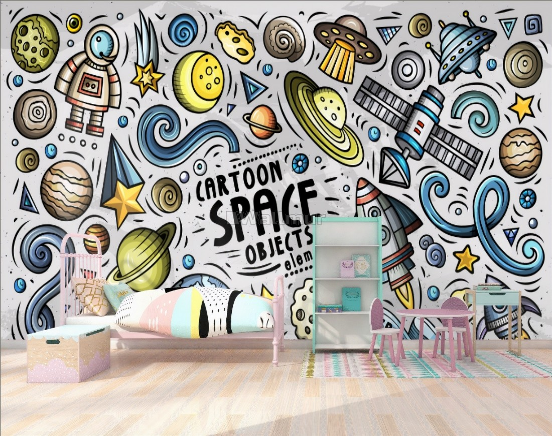 Kids Boys Cartoon Space With Drawing Planets And Stars Wallpaper