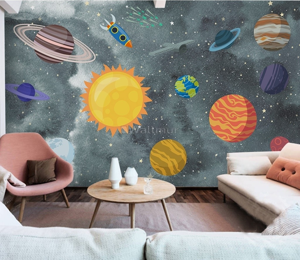 Kids Boys Watercolor Space and Solar System Wallpaper Mural