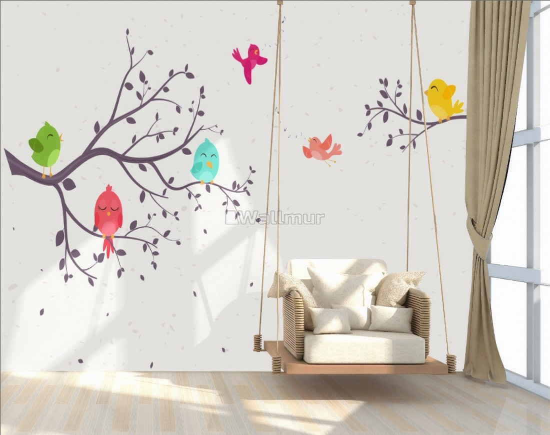 Kids Cartoon Tree With Colorful Singing Birds Wallpaper Mural Wallmur Find & download free graphic resources for trees cartoon. kids cartoon tree with colorful singing birds wallpaper mural