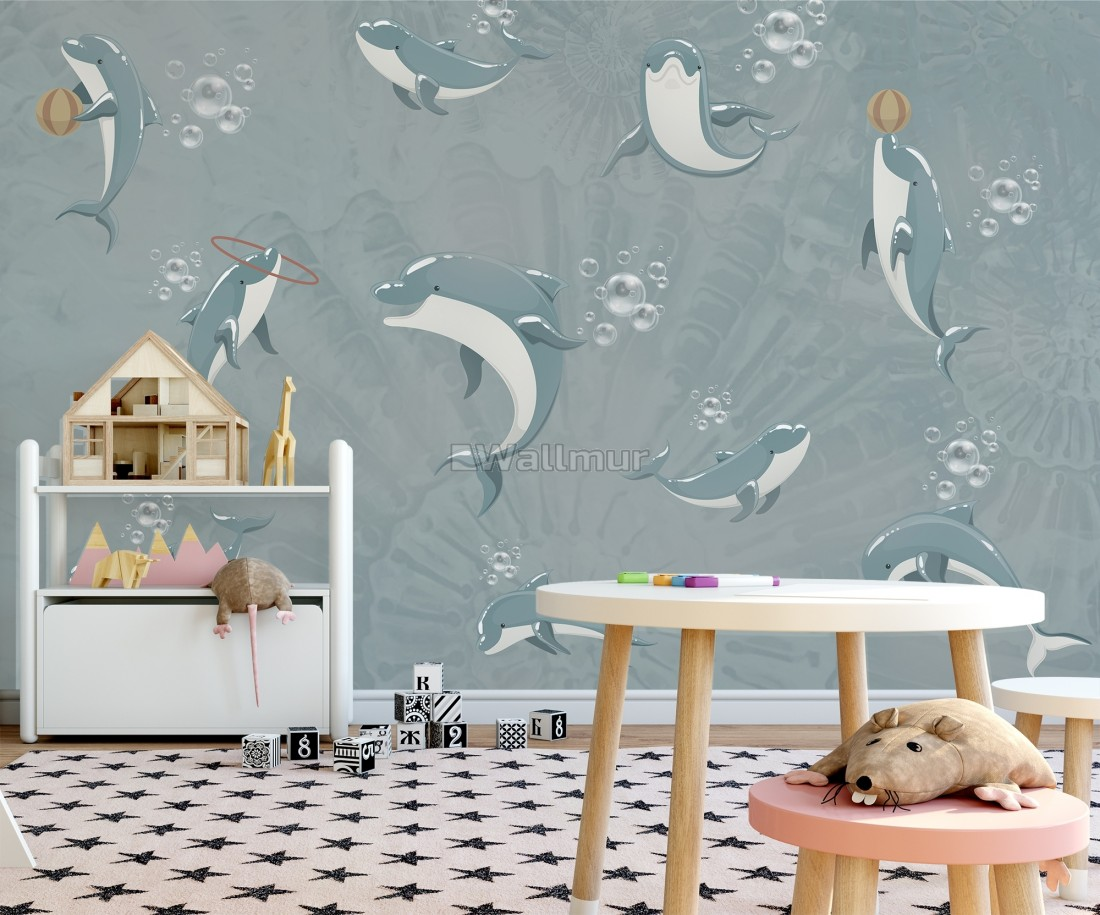 Playing Dolphin Nursery Wallpaper Mural