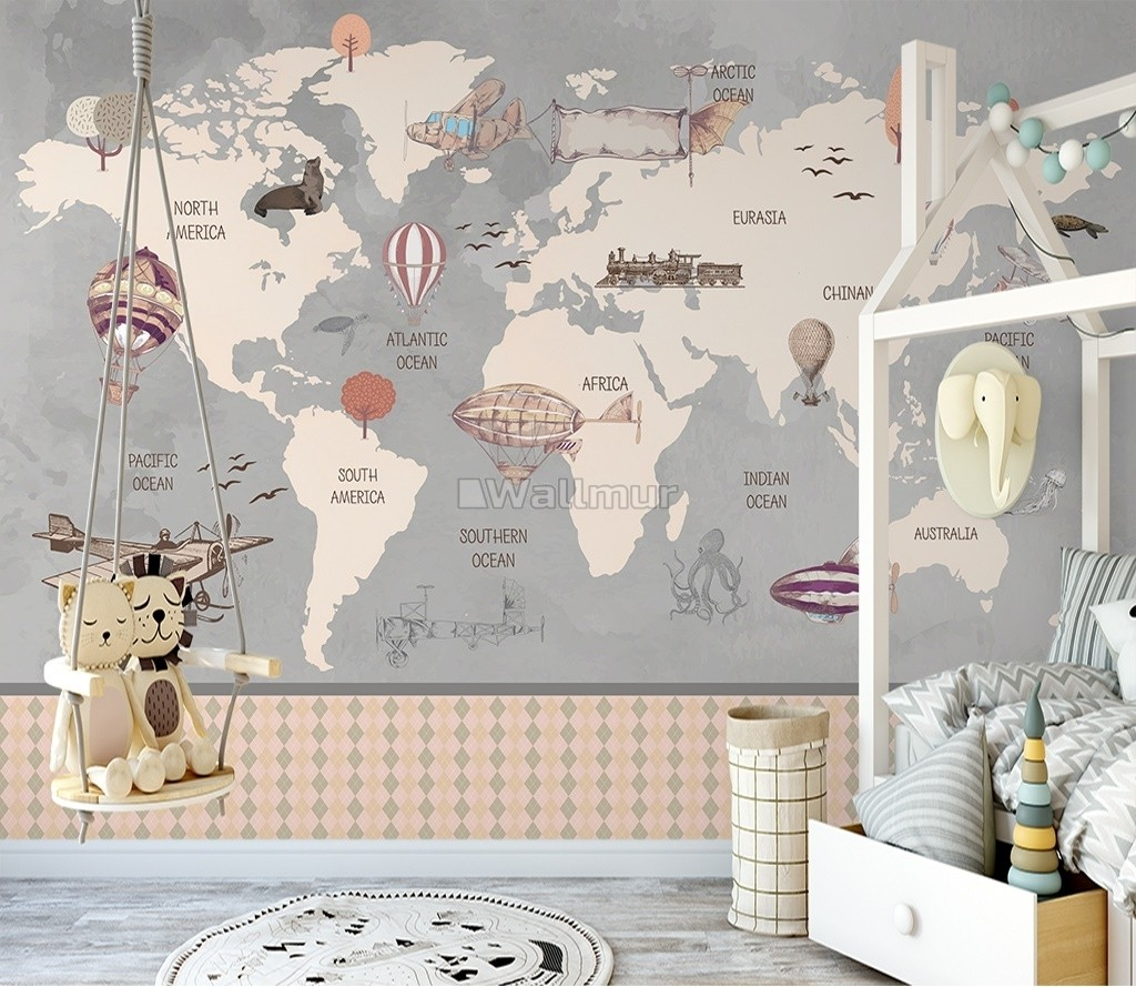 Vintage Kids World Map with Aircraft and Hot Air Balloon Wallpaper Mural