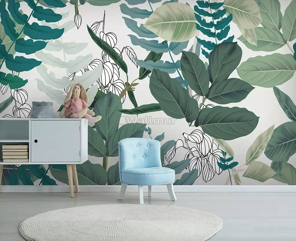 3D Look Tropical Leaf Drawing Art Wallpaper Mural