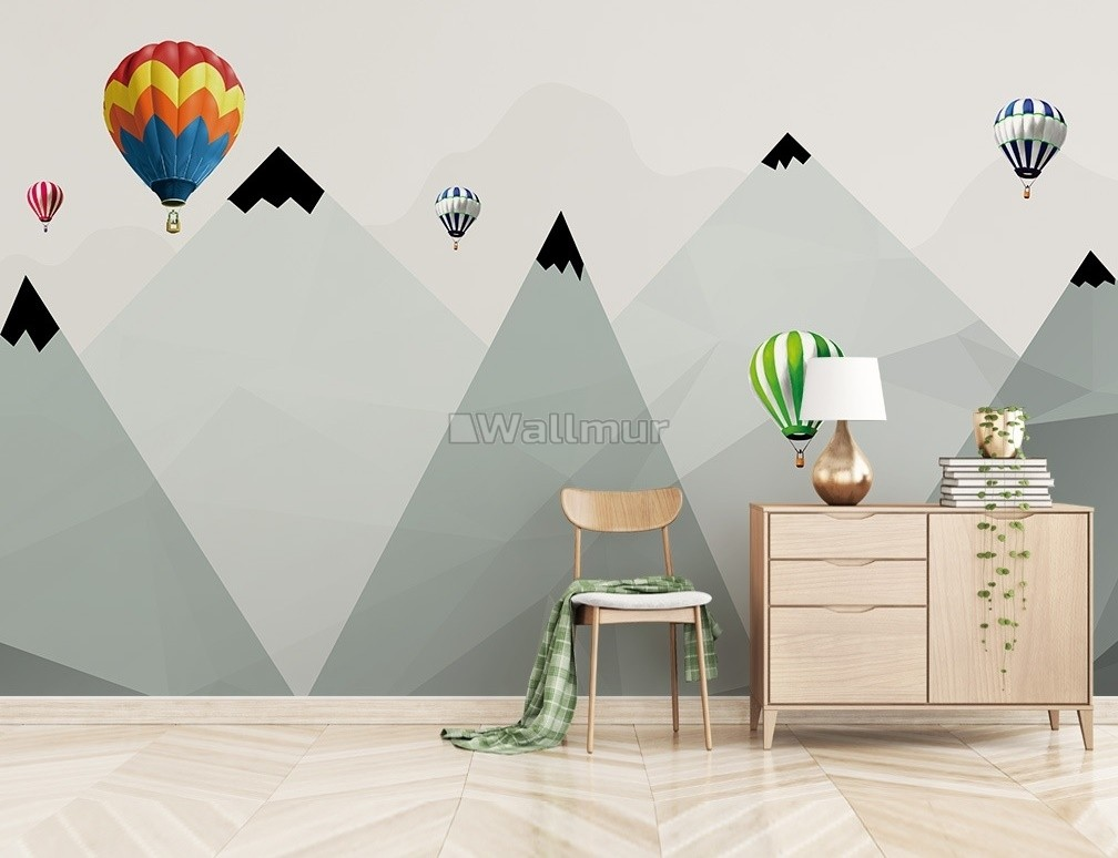 Mountain 3D Look Hot Air Balloon Wallpaper Mural