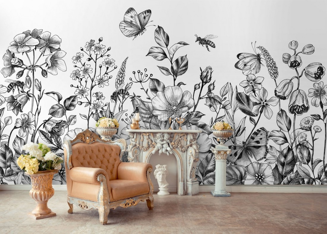 Black And White Floral Wallpaper Mural Wallpaper Wallmur