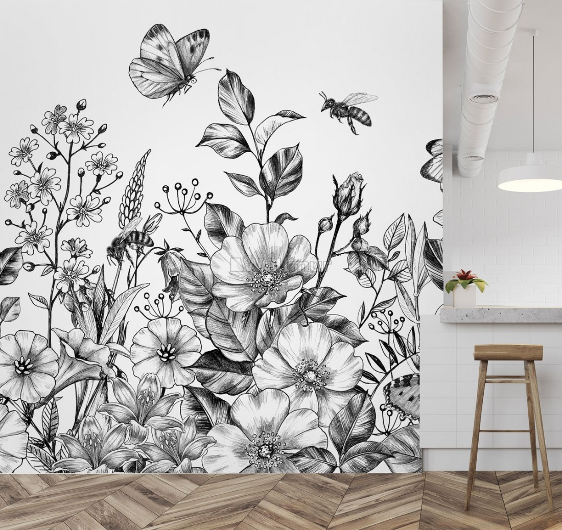 black and white floral wallpaper mural wm ofd000045 31482444