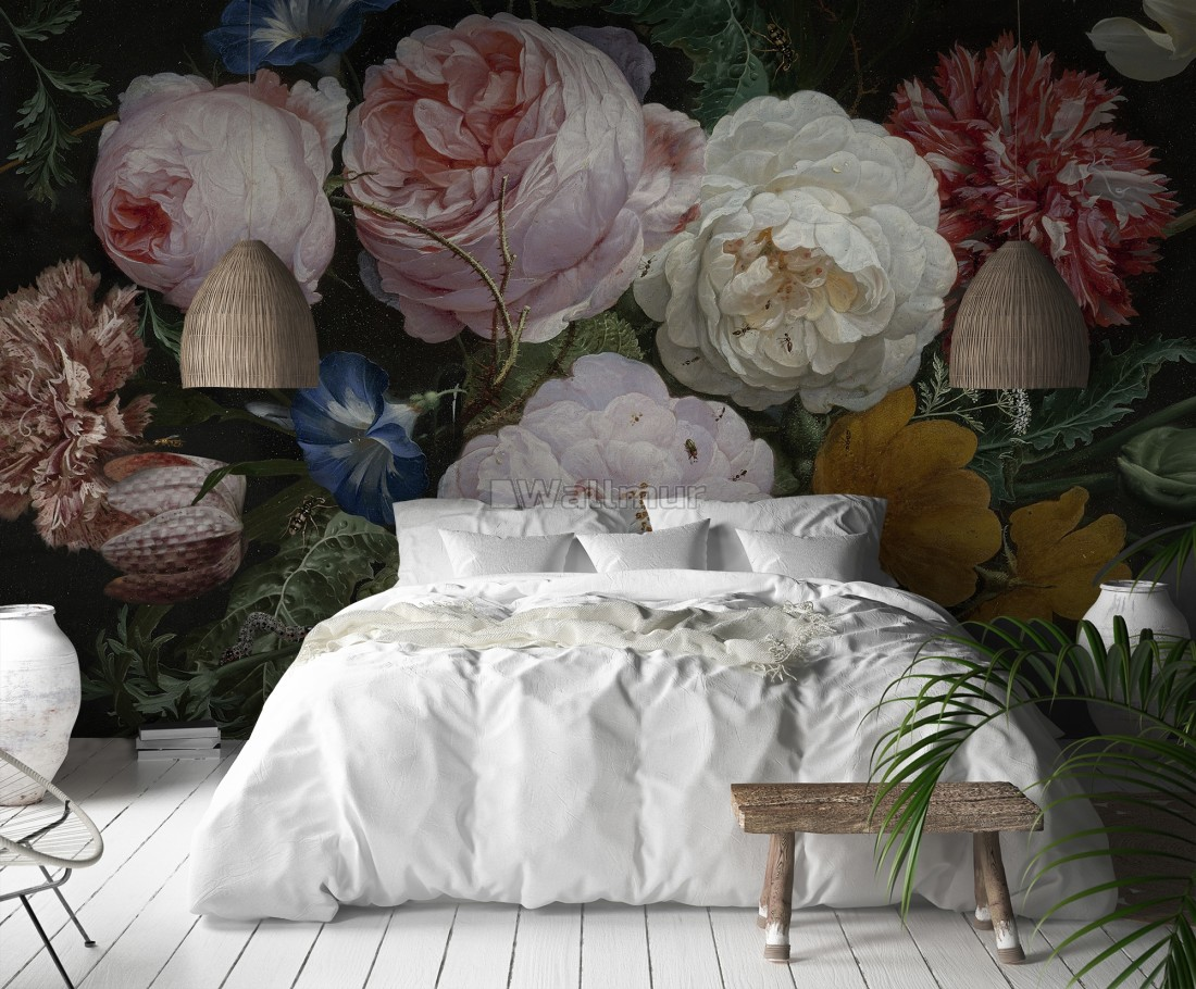 Dutch Floral Victorian Flower Bouqet Wallpaper Mural Wallmur