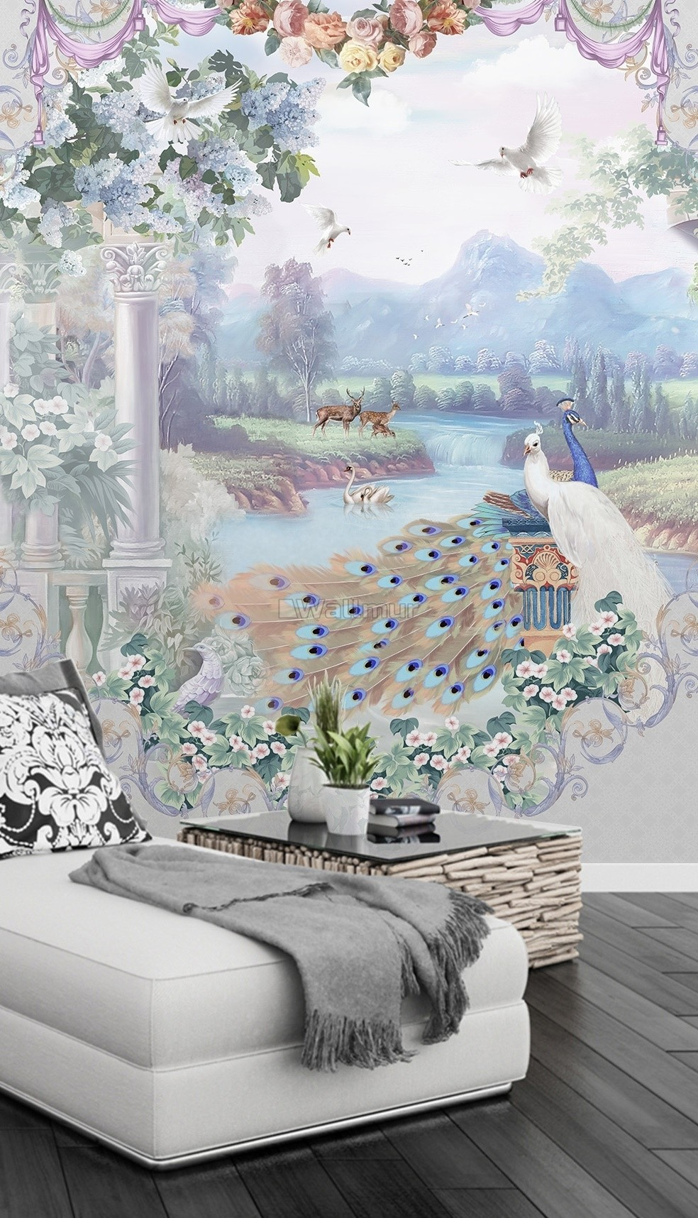 Abstract Lake Landscape and Peacock Wallpaper Mural