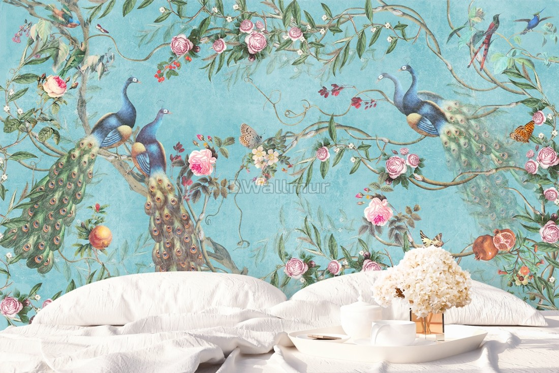 Peacock With Peony Blossom Wallpaper Mural Wallmur