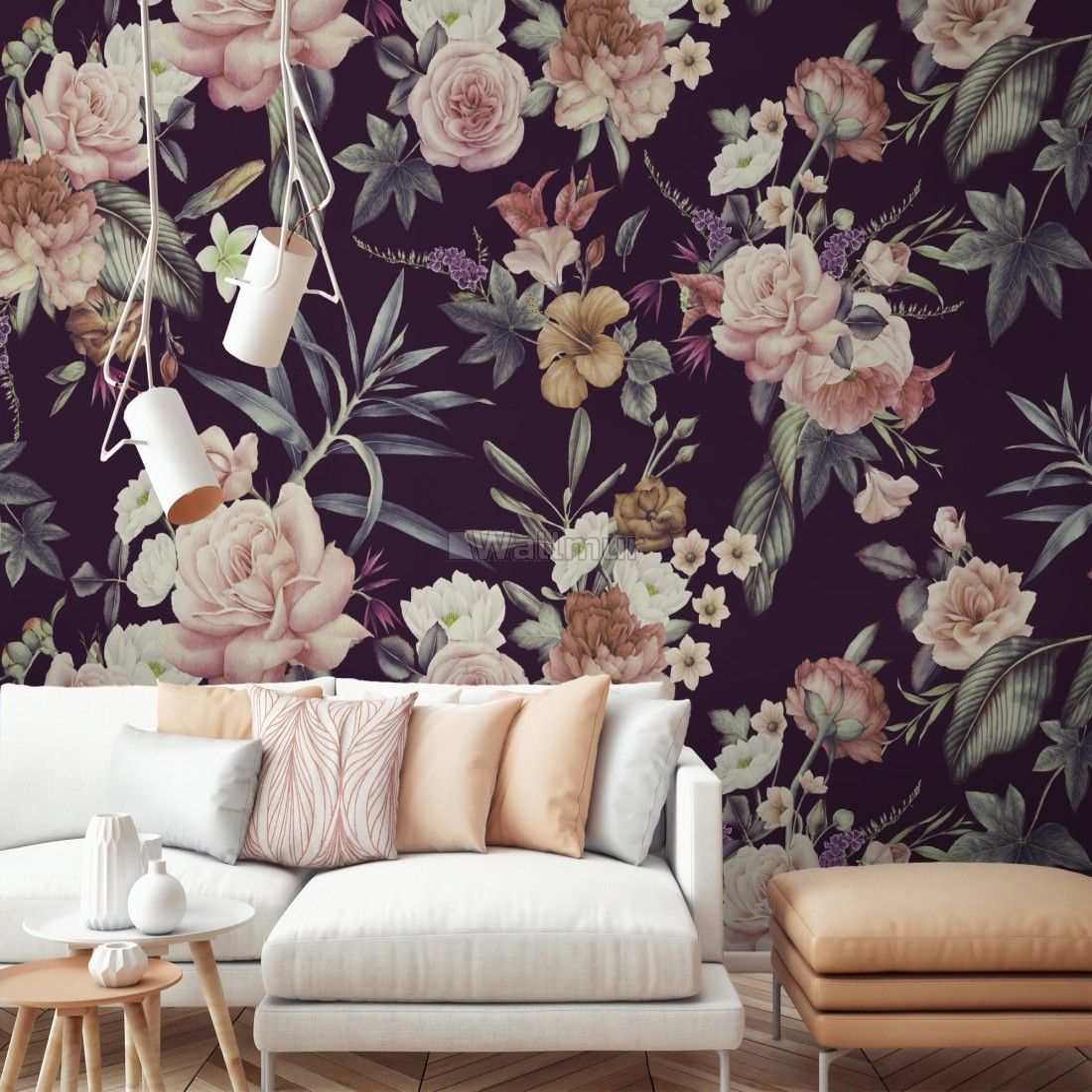 Vintage Dark Floral Bouquet Wallpaper Mural Wallpaper Wallmur