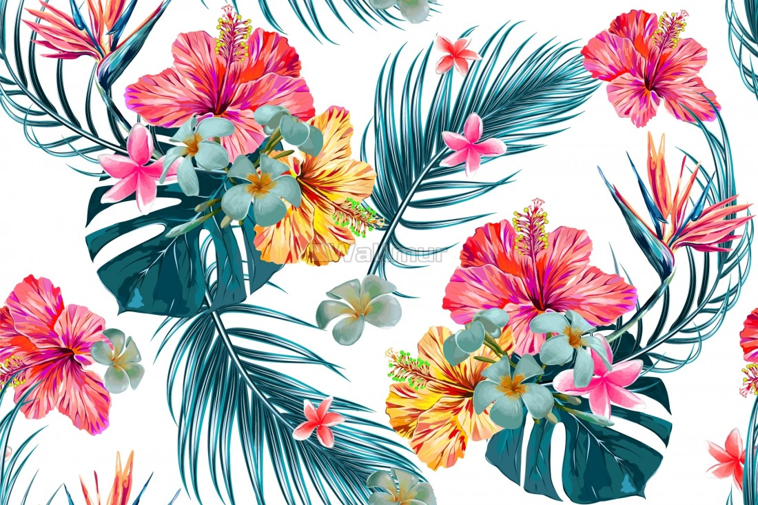 Pink Mirabilis Flowers And Tropical Leaves Wallpaper Wallmur