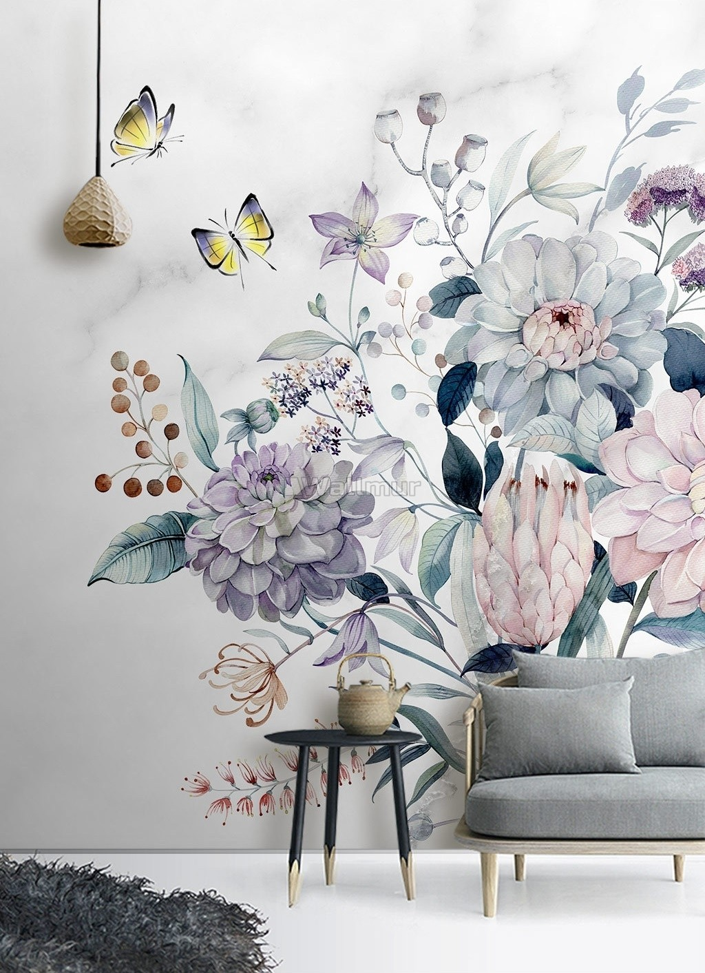 Soft Victorian Floral And Yellow Butterfly Wallpaper Mural Wallmur