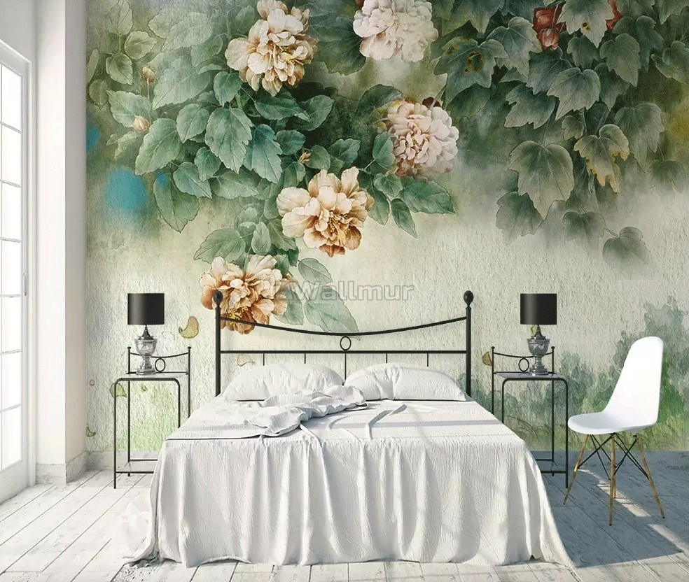 Vintage Floral And Green Leaf Wallpaper Mural Wallmur