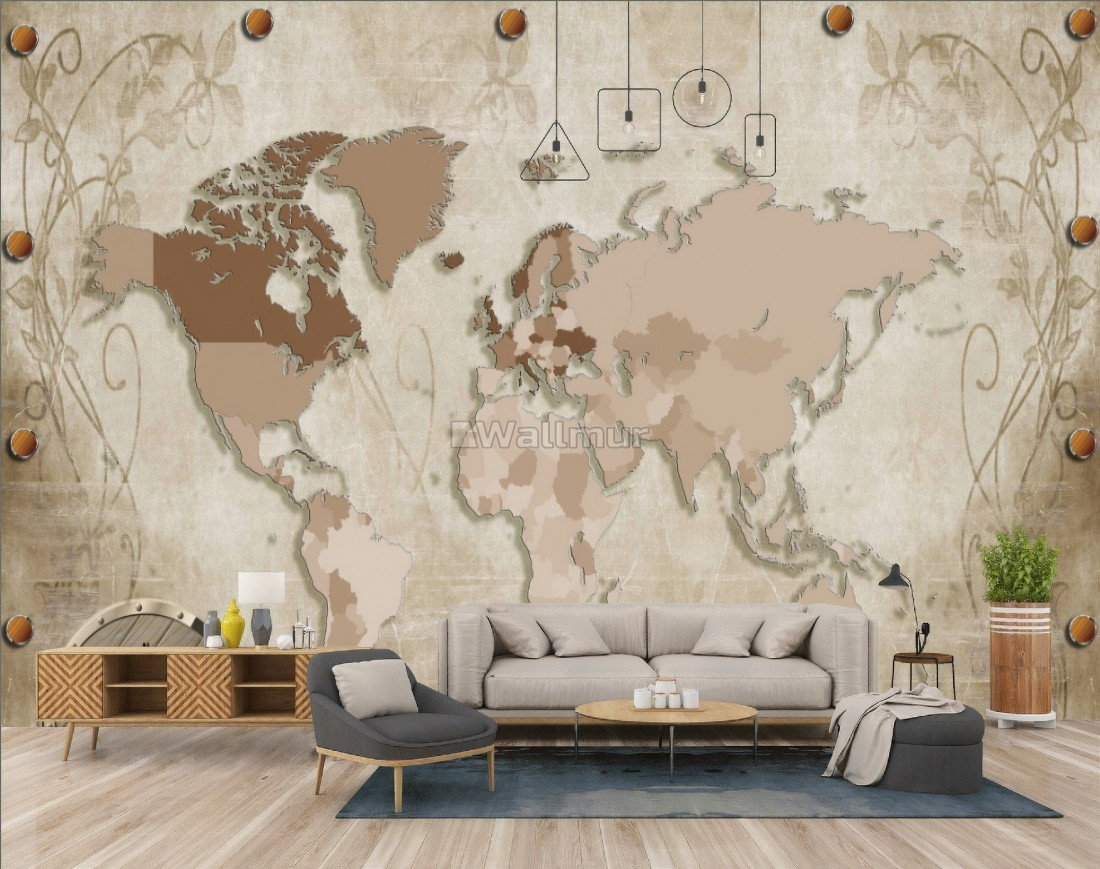 Vintage Brown Parchment World Map with Old Comp Wallpaper Mural on map t-shirt designs, map wall art, map book covers, map craft projects, map tattoo designs, map border designs, map wallpaper, map tiles, map art ideas, map canvas painting, map of america, map wall decal, map still life, map posters,