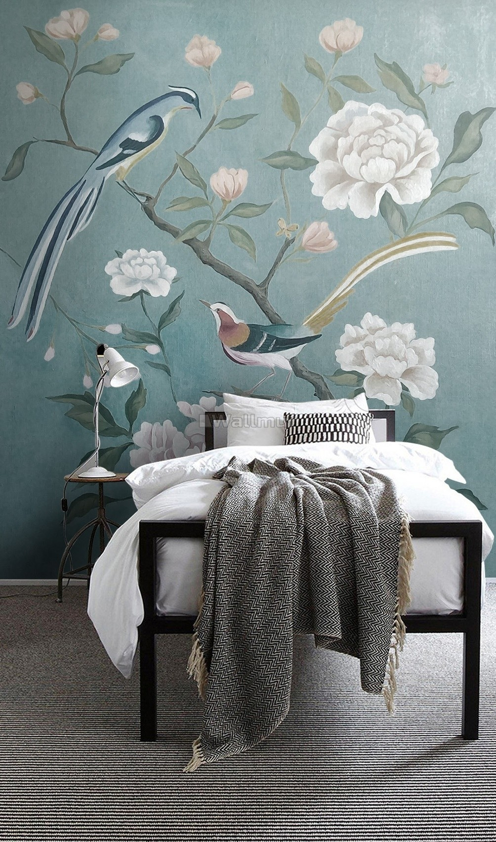 Vintage Peony Floral and Swallow Wallpaper Mural