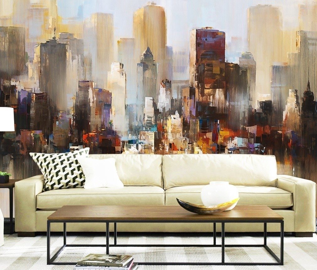 Watercolor Dark City Landscape Wallpaper Mural