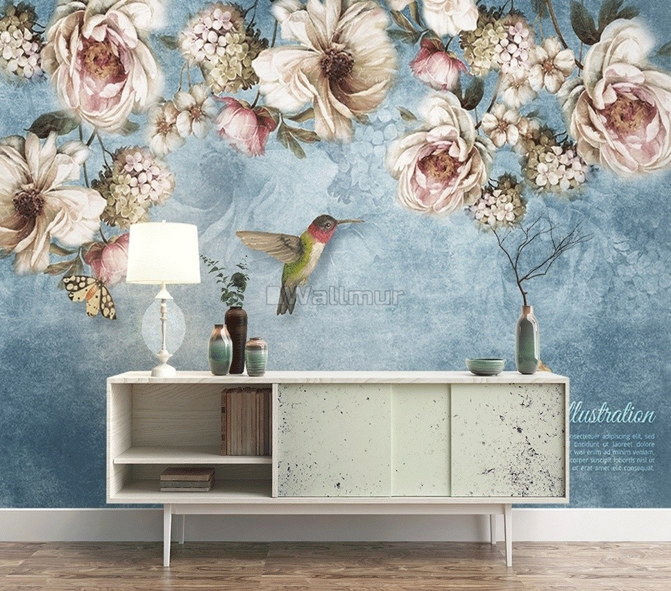 Watercolor Floral Pastel Flower Wallpaper Mural Wallmur