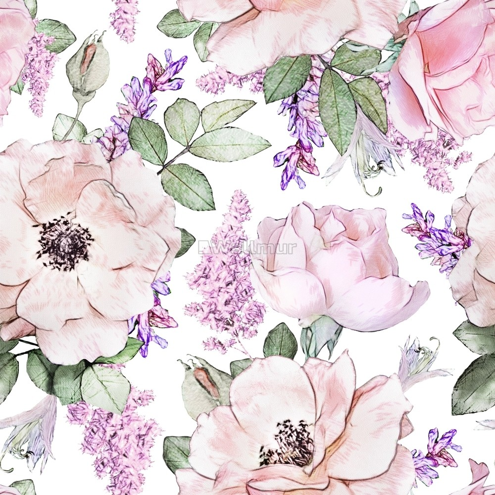 Watercolor Pink Floral Pattern With Wisteria Wallpaper Wallmur