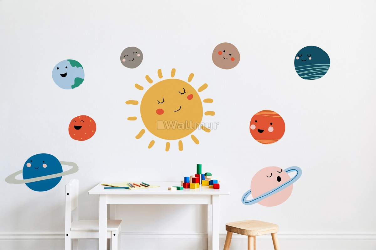 Kids Wall Decal Sun and Planets Wall Decals
