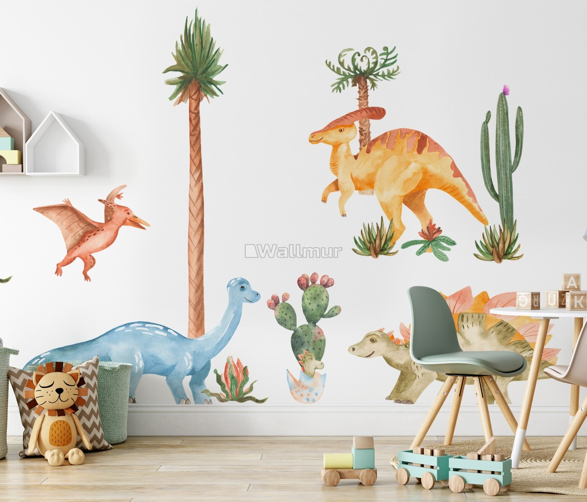 Watercolor Dinosaurs Wall Decal Sticker
