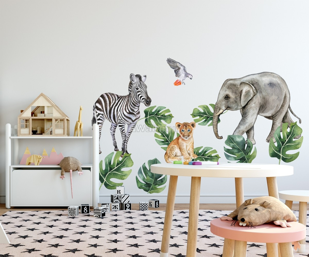 Kids Tropical Animals with Leafs Wall Decal Sticker